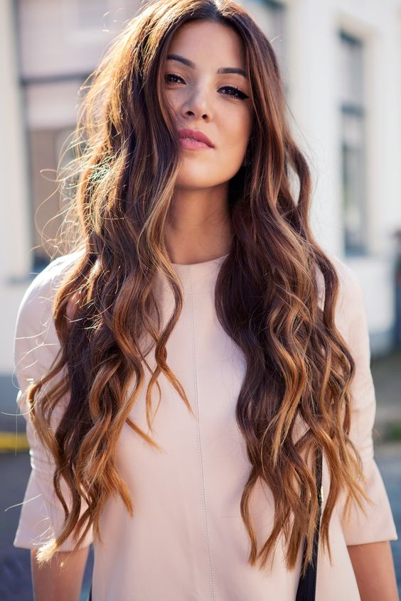 brown beach wave long hairstyle for girl
